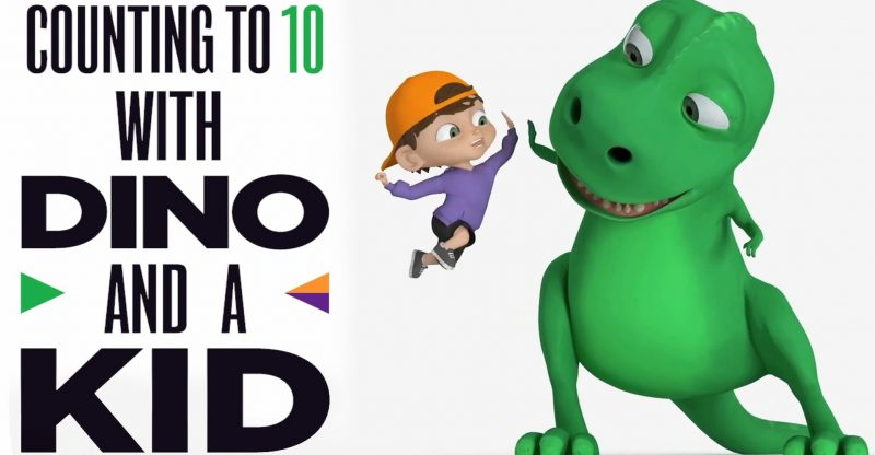 Dinosaur and A Kid Teaching Counting 1 to 10 - Learning