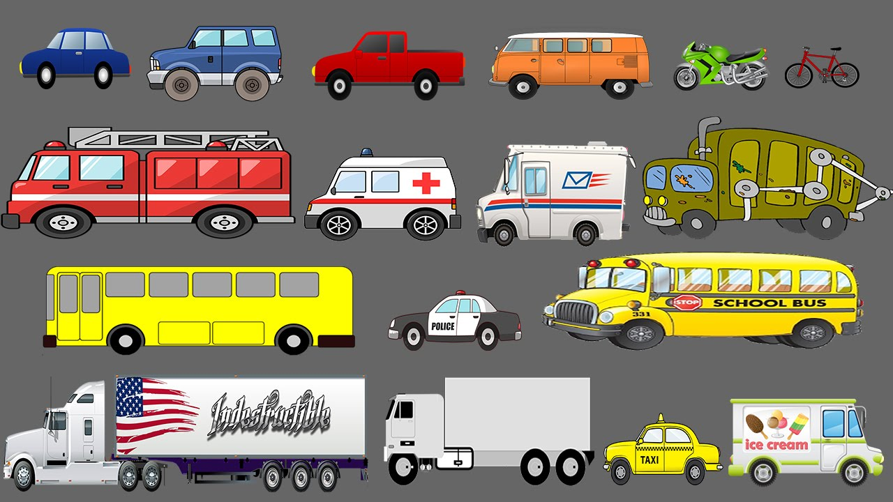 street vehicles learning for children learn cars and trucks kids pictures place 4 kids. Black Bedroom Furniture Sets. Home Design Ideas