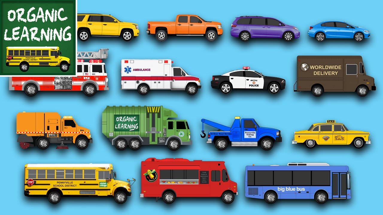 Types Of Cars Names >> Learning Street Vehicles for Children - Learn Cars, Trucks, Fire Engines, Garbage Trucks, & More ...