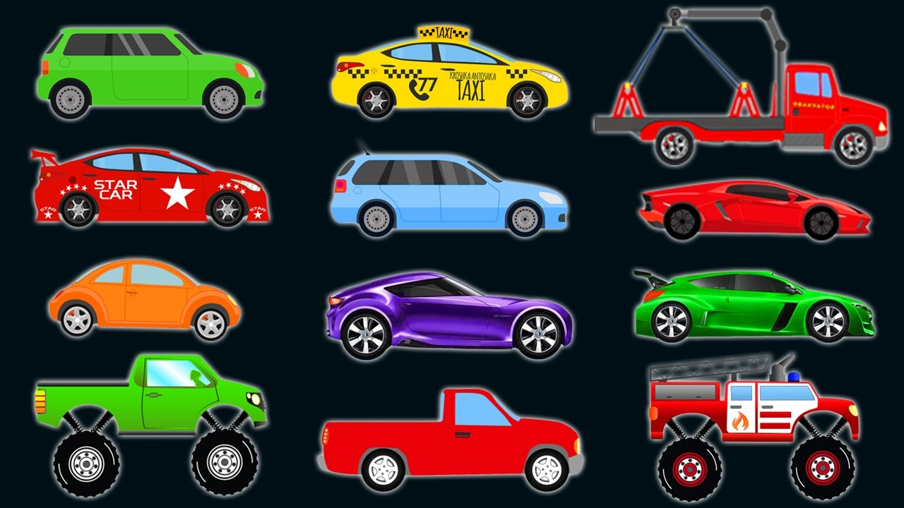 CARS and TRUCKS for KIDS. Learn COLORS Vehicles. Video for Children - Place  4 Kids