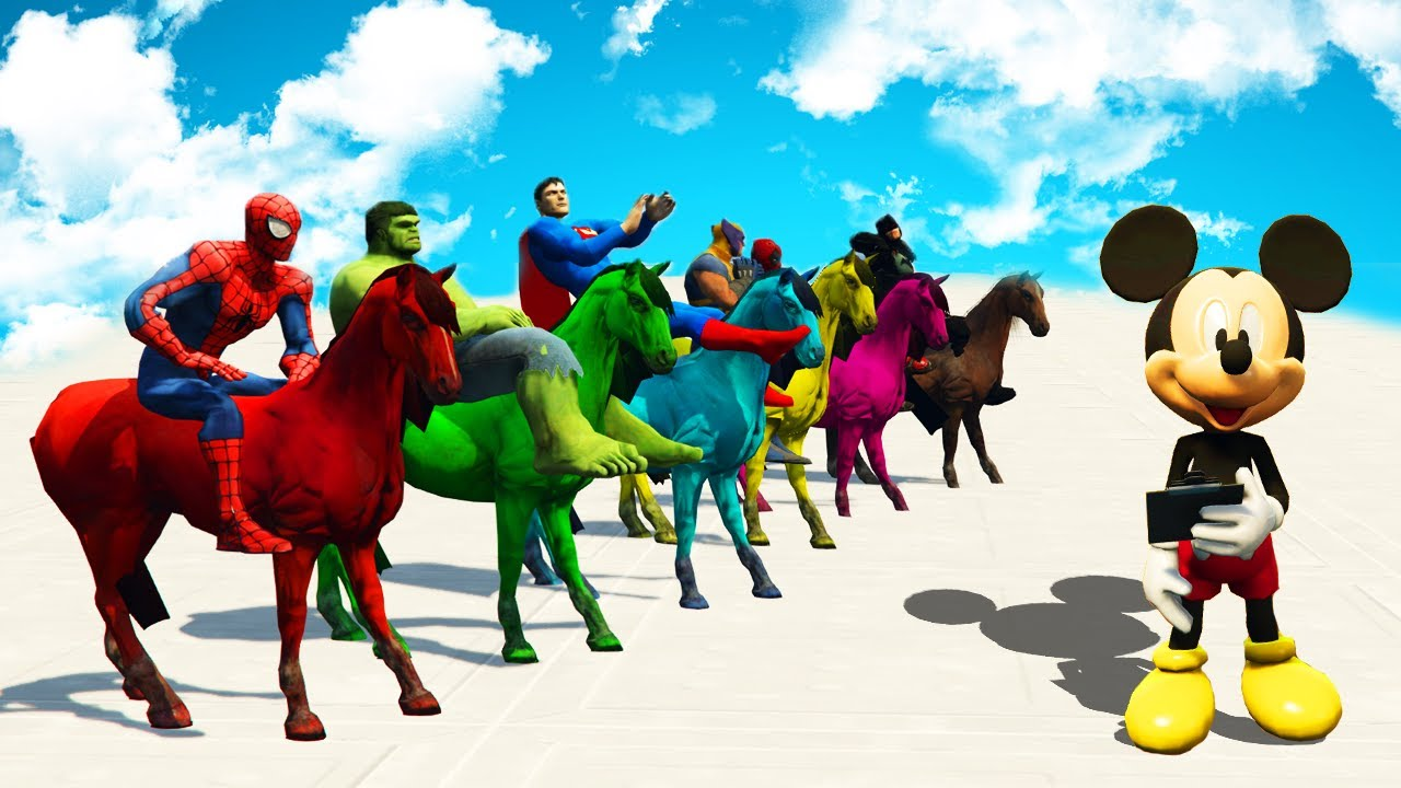 Learn Colors With Horse Colours And Superheroes Cartoon 3d Video For Children Place 4 Kids